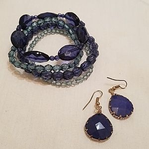 Loft stretchy bracelet  and earring set